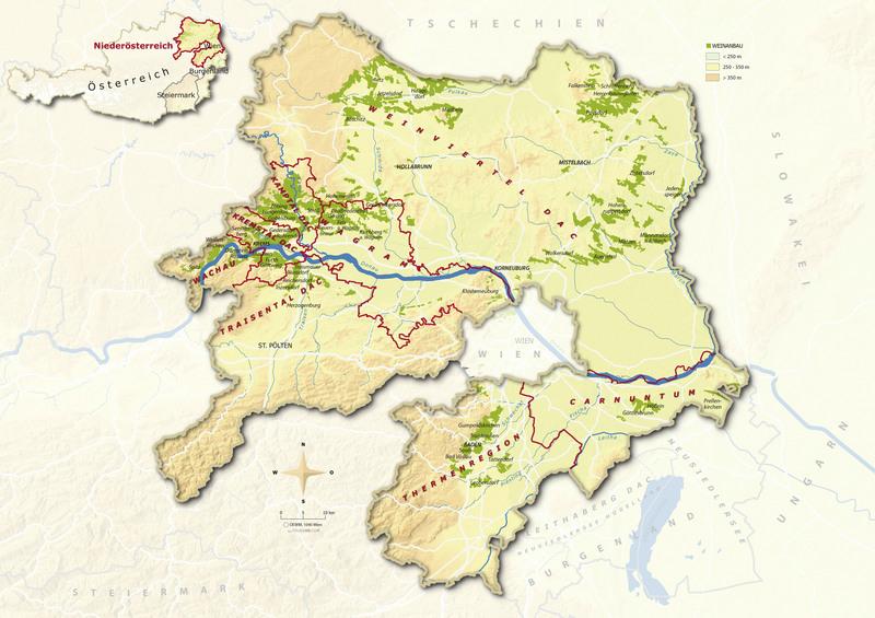 Wachau Karte.Landkarten österreich Wein